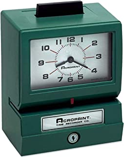 Acroprint 01-1070-411 Model 125NR4 Heavy-Duty Manual Print Time Recorder; Prints Month, Date, Hour and Minutes; Large, Eas...