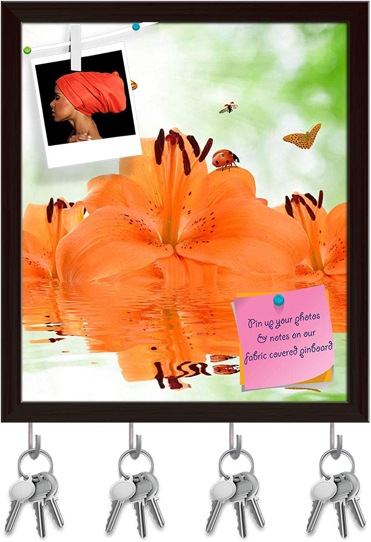 Artzfolio orange Lily with Butterflies & Ladybugs Key Holder Hooks   Notice Pin Board   Dark Brown Frame 16 X 18.4Inch
