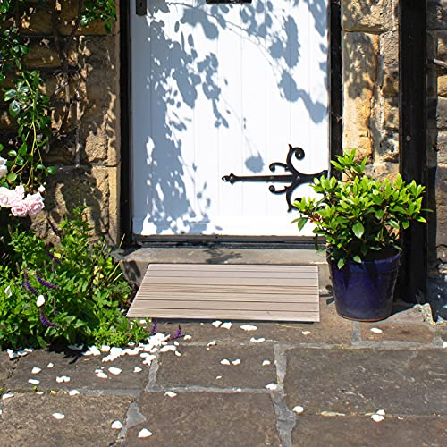 Lqdp Rampe Rampen Schwellenrampen für 8 cm hohe Türen, tragbare Rollstuhlrampen aus Holz für Stufen, naturfarben (Größe: 30,8 × 30 × 8 cm)