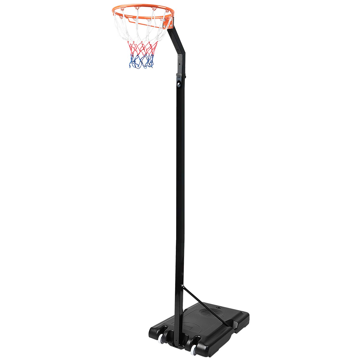 Dripex Adjustable 2.45M-3.05M Portable Basketball Hoop Net Set Professional Outdoor Basketball Stand Netball Post with Wheels for Adjults and Children