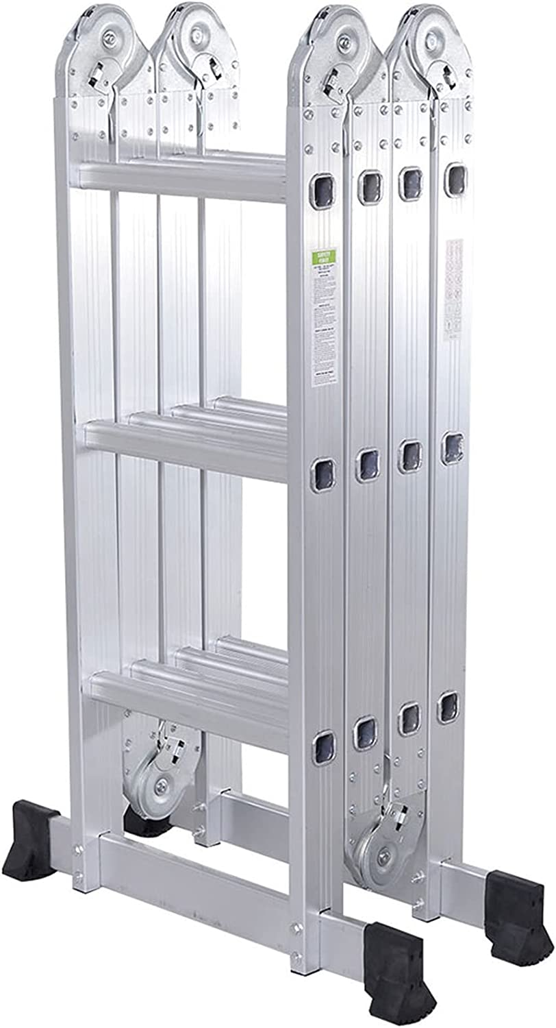 Practical 12-Step Super intense SALE Max 73% OFF Joints Aluminum Folding - Silver Stable Ladder