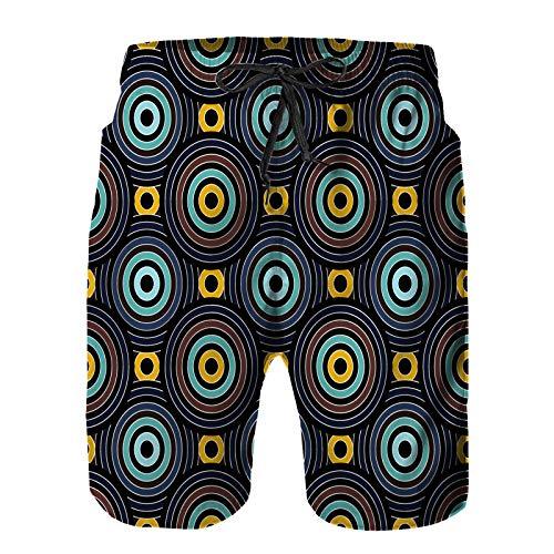 Aerokarbon Hombres Playa Bañador Shorts,Vector Moderno patrón Transparente círculos superpuestos,Traje de baño con Forro de Malla de Secado rápido S