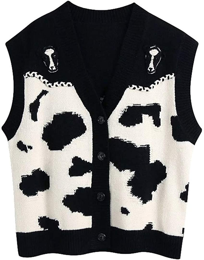 Women Animal Knitted Vest Sweater Vintage Sleeveless Button-Up Waistcoat Chic Tops