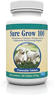 Sure Grow 100 (Trophy Animal Health Care) Aids in Development of Healthy Bones Tendons and Ligaments for Puppies Chewable Tablets 100 Ct