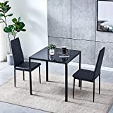Ansley&HosHo Black Small Dining Table and Chairs Set of 2 Compact 3 Piece Modern Kitchen Glass Tempered Square Table and 2 Black Faux Leather Chairs for Small Dinette Apartment Space Saving