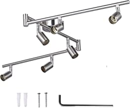 Track Lighting Kit, AIBOO 6 Way Rotatable LED Ceiling Light Fitting GU10 Matte Nickel, Foldable Straight Bar Ceiling Spotlight for Bedroom, Kitchen and Living Room (Bulbs Not Included)