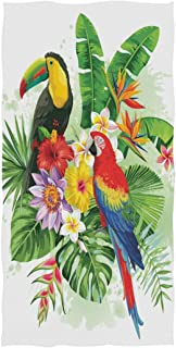 AGONA Tropical Palm Leaves Parrot Toucan Flowers Hand Towels Absorbent Soft Face Towels Large Decorative Bath Towels Multipurpose for Bathroom Kitchen Gym Yoga 30