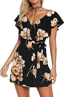 YOINS Donna Abito Elegante Tuta Donna Jumpsuit da Donna Vestiti Estivo Casuale a Maniche Corte Abiti con Scollo a V Monope...