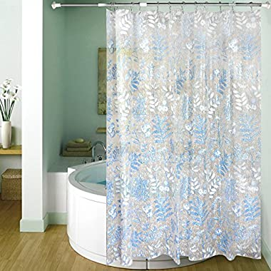 "Carttiya Mildew Resistant Shower Curtain Liner, EVA PEVA Bath Curtain Mold Resistant PVC Free, 72"" x 72"" (Leaves)"