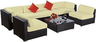 7pcs Polar Aurora Furniture Sectional PE Wicker Rattan Sofa Set Deck Couch (Black)