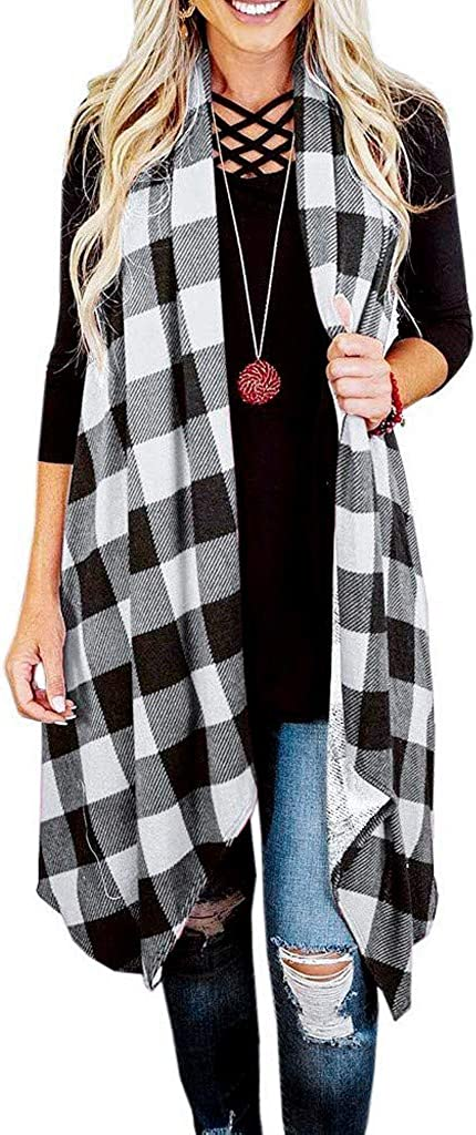 TRENDINAO Womens Plaid Cardigan, Autumn Winter Casual Open Front Sleeveless Lightweight Vest Coat Jacket with Pockets