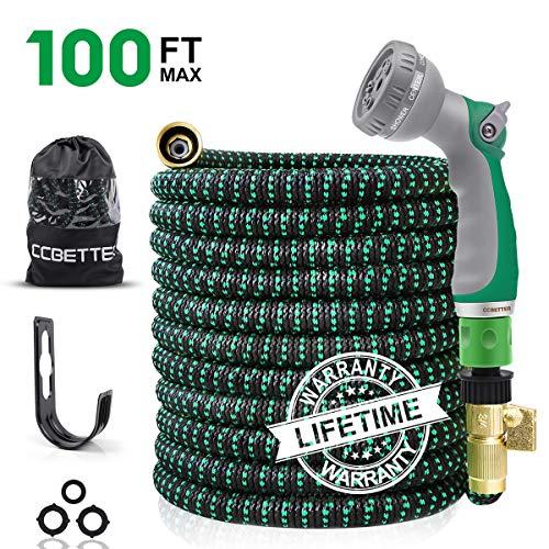 CCBETTER 100FT Tubo da Giardino, Tubo Flessibile espandibile con connettori in Ottone Massiccio, Tubo Flessibile da Giardinaggio Resistente con ugello per Tubo Spray a 8 Motivi