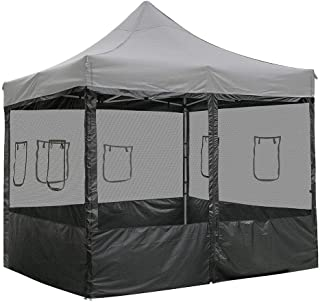Chi Mercantile 4 Mesh Sidewalls Dust Elements Bug Protection with Windows and Zippered Entrance for 10 x 10 Canopy Tent Food County Fair Concession Vendor Stand (for 10' x 10 Canopy with Side Panels)
