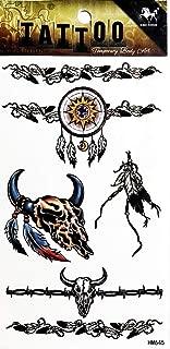 PP TATTOO 1 Sheet Indian Native American Buffalo Head Feather Arm Body Sticker Tattoo Art Make up for Men Temporary Tattoos Paper Waterproof for Men Women