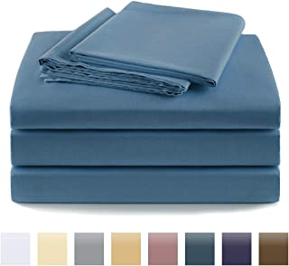 100% Cotton Sheets Egyptian Quality,4 Piece Bed Sheet Set,400 Thread Count,Fade Resistant (Twin, Blue)