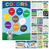 20 Large Educational Posters For Kids Toddlers (16.5x12 Double Sided English and Spanish) Includes: Alphabet Colors Letters Numbers Shapes Months Days Weather Time Animals Solar System Seasons Map (Office Product)