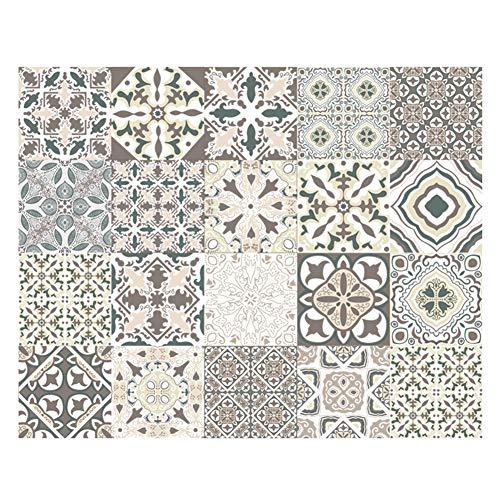 katsuya 20 Piezas Mate Azulejo Pegatinas, Impresión Vintage Pegatina Pared, Cuadrados Empalme Azulejos de Mosaico 10/15/20CM