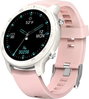 """Smart Watch for Women, Wireless Charging IP68 Waterproof Always-on 1.3"""" Touch Screen Fitness Tracker, Heart Rate Recorder Step Counter, Sleep Monitor for Android Phones and iPhone (Pink)"""