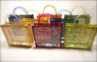 SINAMAY PARTY BAG/TOTE/GOODIE BAG WITH IRIDESCENT LINING & GEL HANDLES - NATURAL (PACK OF 10)