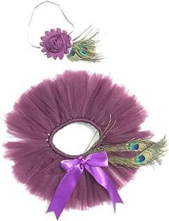 Newborn Girls Peacock Feathers Headband TuTu Dress Costume Outfit