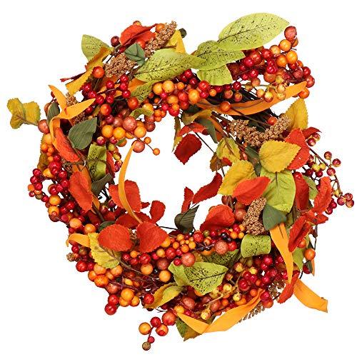com-four® Corona de Puerta para otoño e Invierno - Corona de Adviento con Bayas y Hojas de Naranja - Corona Decorativa - Decoración navideña - Corona de Mesa - Corona de Navidad - Ø 40 cm