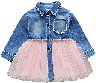 Toddler Infant Baby Girl Dress Denim Jeans Top Pink Tulle Tutu Dress Skirt Outfits