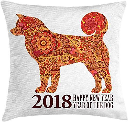 Jiger Year of The Dog Throw Pillow Cushion Cover, Canine Design met blooming Flowers en Hearts 2018 Festive Aziatische kalender, decoratieve vierkante kussensloop, 18 x 18 inch, multicolor
