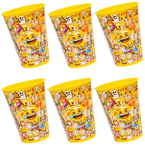 cama24com Lustige Emoji Kunststoffbecher 6 Stück Kindergeburtstag Mitgebsel Tischdeko mit Palandi® Sticker