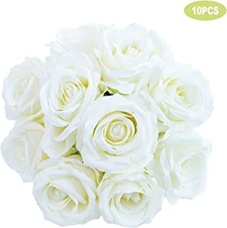 SOMIER 10Pcs Artificial Silk Rose Flower Heads, Realistic Looking Fake Roses for DIY Flower Wall Weeding Bouquets Bridal Baby Shower Centerpieces Party Home Decor