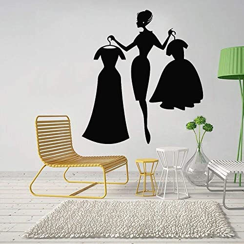 Gadgets Wrap Shop Wall Decal Fashion Girl Shopping Clothing Store Interior Decor Dresses Vinyl Window Stickers