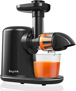 Masticating Juicer, Bagotte Slow Juicer Machines with Reverse Function, Cold Press Juicer Extractor with Brush, Easy to clean, Quiet Motor, Juice Recipes for High Nutrient Vegetables and Fruits, BPA-Free