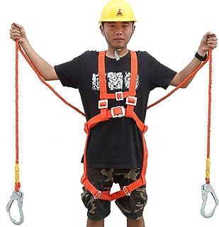 OUNONA ハーネス安全帯 安全帯 ロープ ランヤード 落下防止 電気工事 高所安全作業用 安全ベルト 頑丈 オレンジ