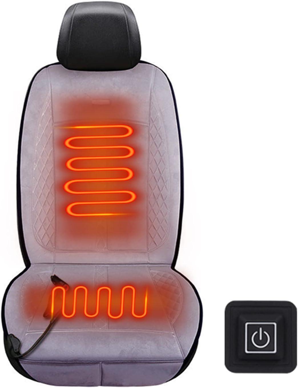 EnweKapu Asiento Calefactable Coche, 12V/24V Cojín Calefactor Coche, Cojín Felpa, Interruptor Inalámbrico, 3 Niveles Ajustables, Apagado Automático, para Clima Frío Conducción Invierno,Gris,24V