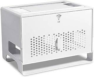 MNBVH Caja para Cables y Router y Enchufes, Caja de Almacenamiento para Router, Organizar Cables, Decoración del Hogar White