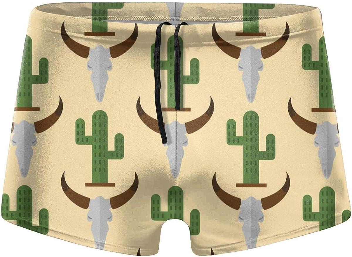 Cow Skull Cacti Floral Men's Swimming Trunks Fitness Swimwear Boxer Pants Board Shorts