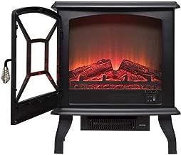 Calefacción auxiliar estufa eléctrica chimenea eléctrica fuego con leña realista Entrar llama efecto 3D y 2 configuraciones de temperatura - Portátil con patas Calentador 1600W Negro aire más cálido