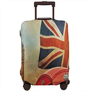 London City UK Flag Big Ben Retro Travel Luggage Cover DIY Prints Suitcase Protector Suitcase Baggage L Fits 25-28 inch luggage