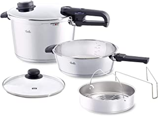 Fissler vitavit premium Pressure Cooker Set of 6 with Skillet, Glass-Lid and Insert, 6-Pieces, Silver