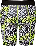 adidas Girls' Destiny Printed Sliding Shorts(Neon Yellow Animal Print, S)