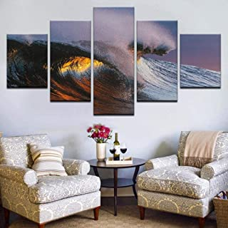 TYUIOP Canvas Mural-Mural Modern Living Room Home Decoration Picture HD Canvas Painting Poster 5 Painting Board Waves in S...