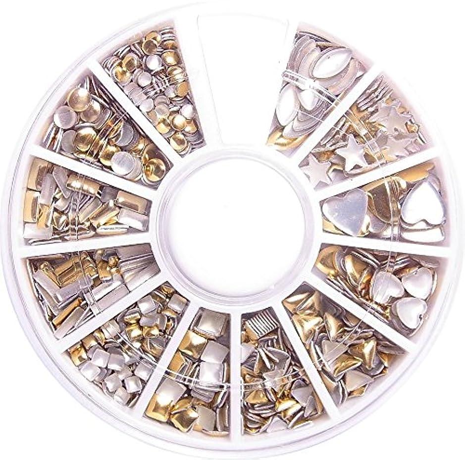 壁関係プロフィール【jewel】メタルスタッズ12個入りゴールド ケース付き ネイル デコ