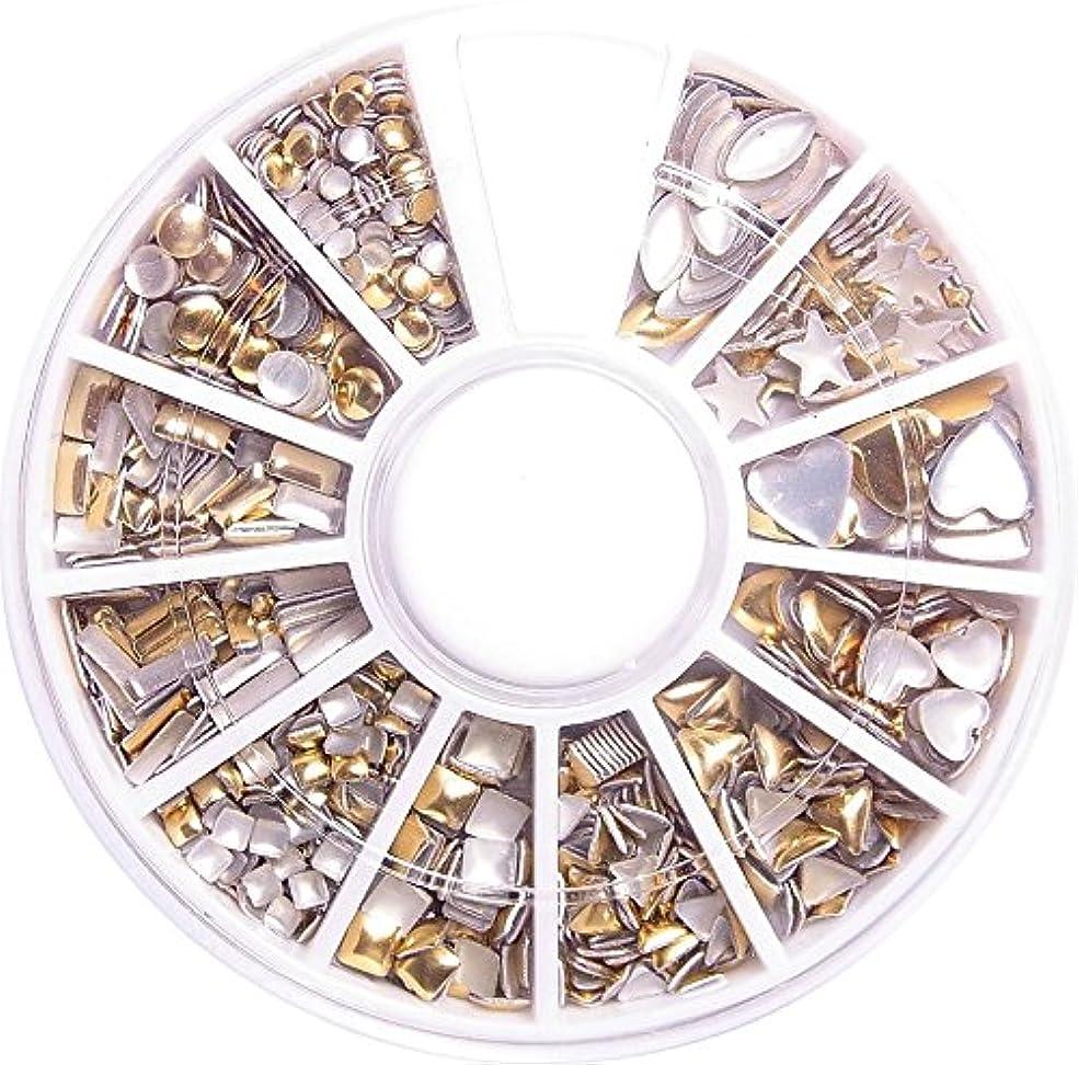 完璧なありがたいけん引【jewel】メタルスタッズ12個入りゴールド ケース付き ネイル デコ