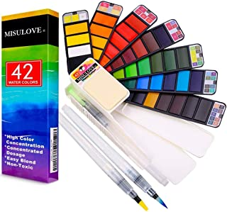 MISULOVE Watercolor Paint Set, 42 Assorted Colors Foldable Paint Set with 3 Brushes, Foldable Travel Pocket Watercolor Kit...