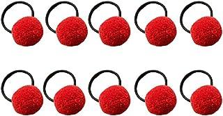 Kanggest - 10elastici per capelli da bambina, con pompon, morbidi e privi di parti in metallo 1 rosso