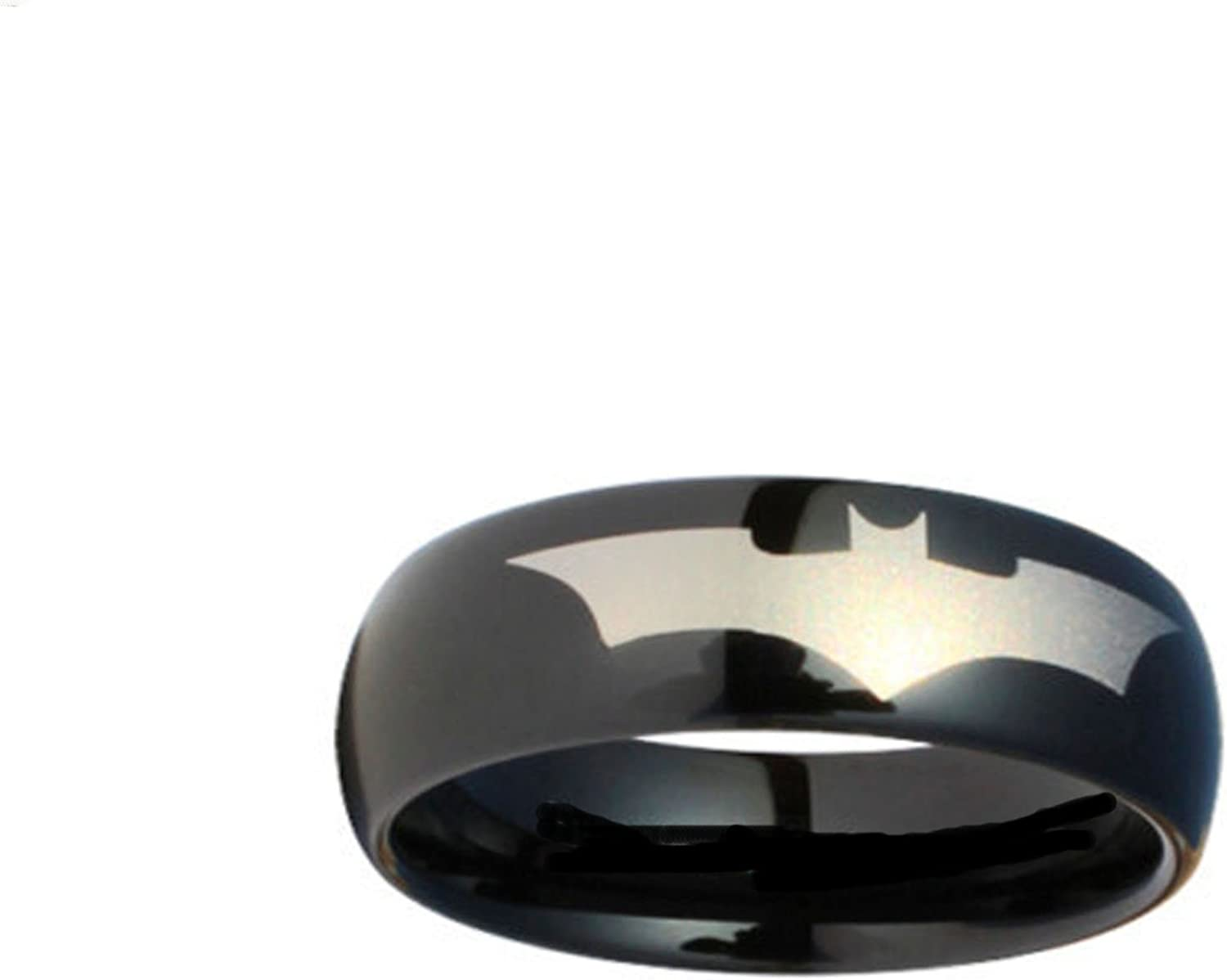 Blue Palm Jewelry Batman Print on a Black Stainless Steel DC Width Band Ring R380 Size 5-13
