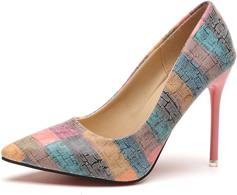 FOXSENSE Stiletto Pump color Blocking Elegant Versatile Pointed Toe 4 inch High Heel Dress shoes for Women