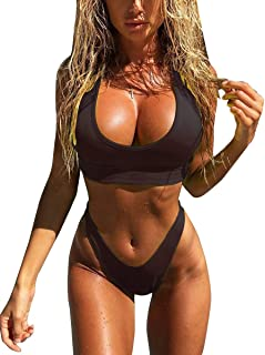 MOPOOGOSS Womens Scoop Neck Crop Top High Cut Thong Bikini Sets 2PCS Swimsuits Swimwear