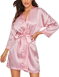 Ultramall Unique Underwear Plus Size Sexy Lingerie Women Silk Stripe Robe Satin Bathrobe Sleepwear Pajamas