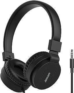 Jettom Kids Headphones, Adjustable Headband, Stereo Sound, 3.5mm Straight Jack, Wired Headphones for Kids, Foldable, Childrens Headset on Ear for School Home, Black