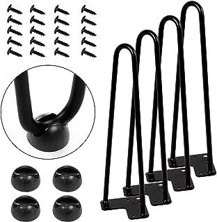 "AECOJOY 16"" Black Hairpin Legs, 3/8"" Diameter, Set for 4 Heavy Duty 2 Rods Table Legs, for DIY Desk, Stand, Bench"